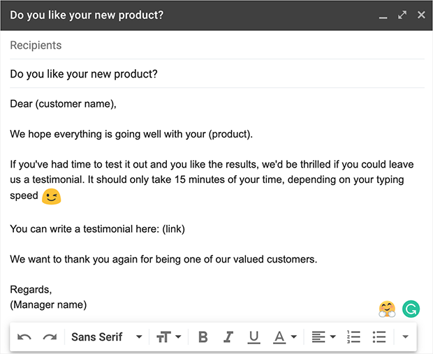 Email testimonial request