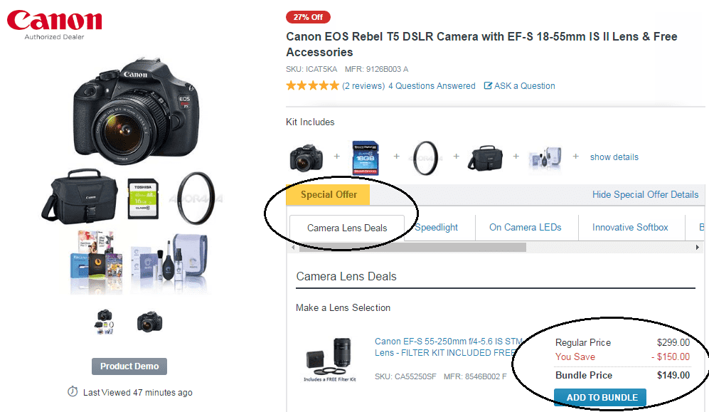 Canon bundle pricing ecommerce combo