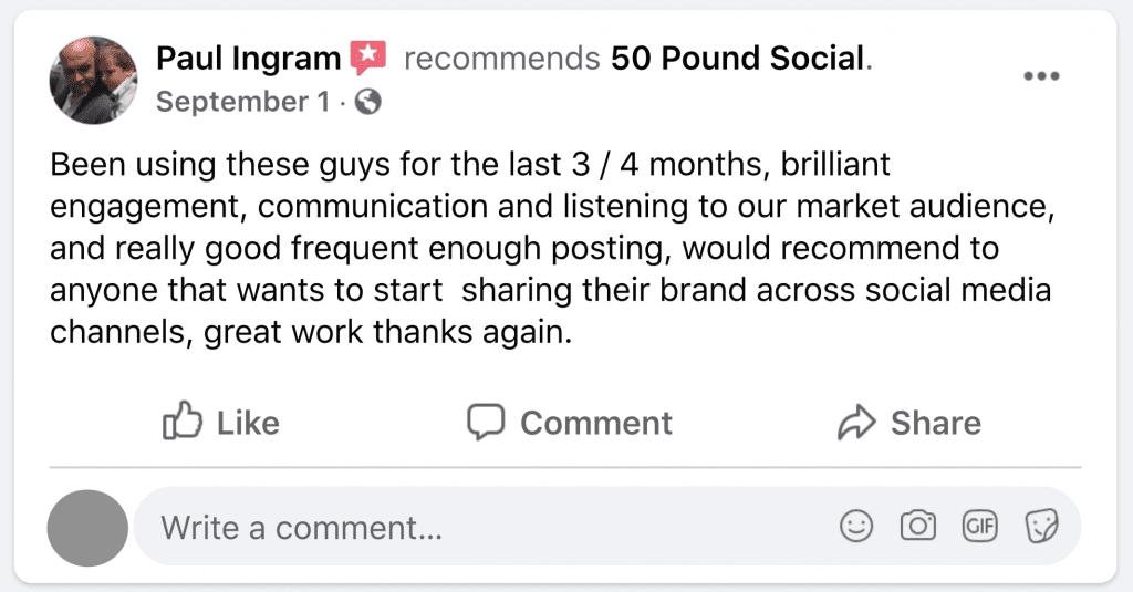 facebook review testimonial