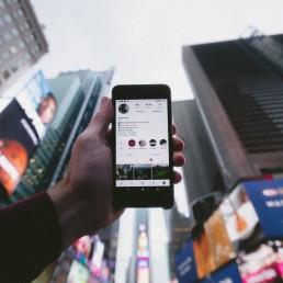 Smartphone showing instagram on screen