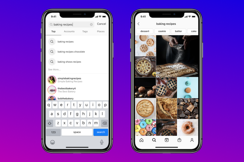 Instagram lets users search by keywords