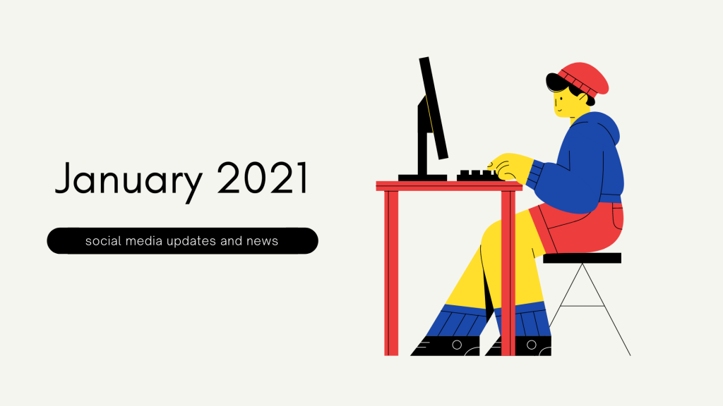 January 2021 social media updates and news flat design