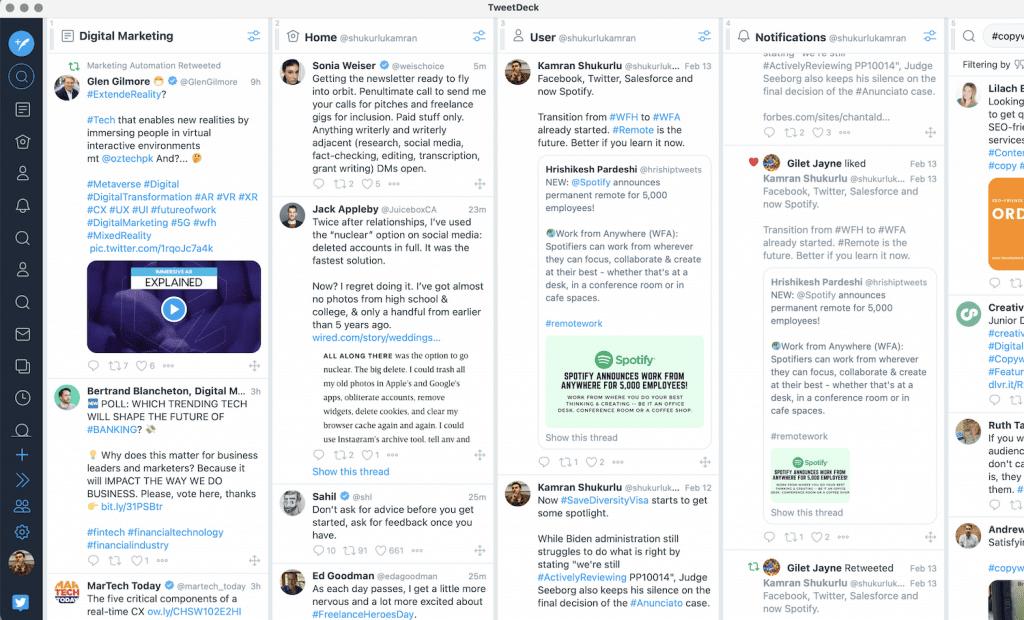tweetdeck Social media updates