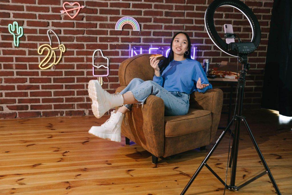 a girl on the armchair